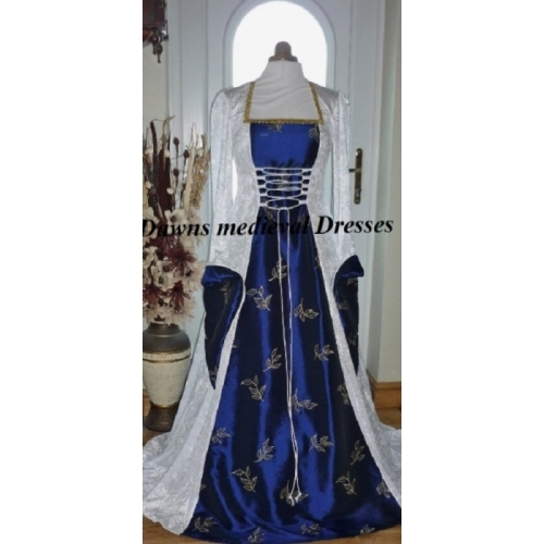 Pagan Medieval White & Blue  Wedding Handfasting Dress